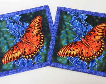 2 Quilted Mug Rugs Coasters Monarch Butterflies by SEW FUN QUILTS