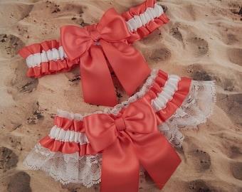 Coral Peach Deep Satin White Satin Lace Wedding Bridal Garter Toss Set