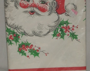 Vintage Christmas Paper Santa Claus Tablecloth 54x96 Reed
