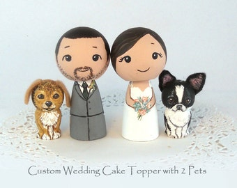 Custom Wedding Cake Toppers 2 Pets Bride Groom Dog Cat Kokeshi Doll Personalized Family Toppers wedding Decor