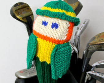 Leprechaun, Golf Club Cover, Golf Headcover, Golf Head Cover, Notre Dame, Irish, St Patricks Day, Unique Golf Gifts, Knit Golf Cover