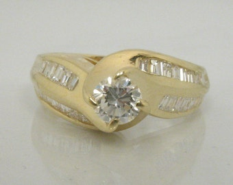 Vintage Diamond Ring - 0.81 Carat Round Brilliant Cut Diamond Ring with Baguette Accents - Appraisal Included