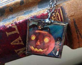 Vintage Halloween postcard pendant necklace little Krampus Jack 'O Lantern
