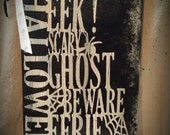 Halloween warning block word hand painted wooden sign Clearance item