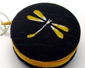 6.5cm Macaron / jewelry pouch / Macaron coin purse / ear phone case -- Dragonfly