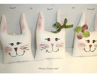 Bunny Head Ornament/ White Muslin Fabric/Single OR Set(s)/Handmade*