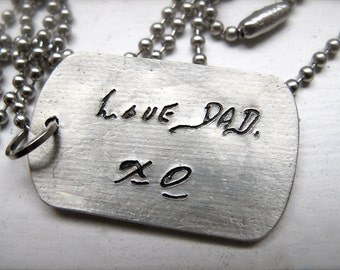 Your Words, Your Hand, A Personalized Dog Tag Necklace