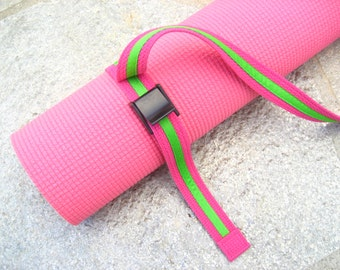 Strap a Mat YOGA MAT SLING  Tote  & Yoga Strap in Hot Pink Webbing w/ Bright Green Trim -- Ready to Ship