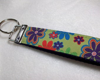 Key Fob Wristlet or Mini Fob with Retro Flowers on Lime Green