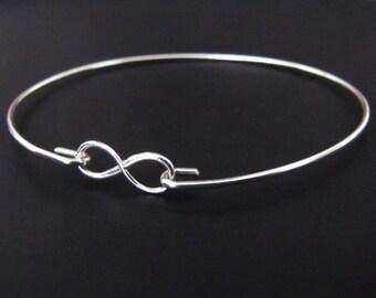 Sterling Silver Bracelet, Infinity Bracelet, Bangle Bracelet, Jewelry, Friendship Bracelet, Gift
