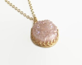 Gold Plated Necklace, Pink Druzy Necklace, Gemstone Necklace, Crown Necklace, Pendant Necklace, Jewelry, Gift