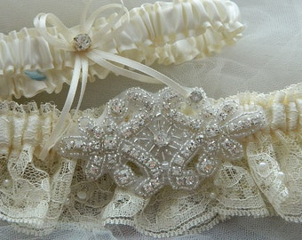 Wedding Garter Set ,Heirloom Garter Set Ivory With Ivory Chantilly Lace And Rhinestone Embellishment