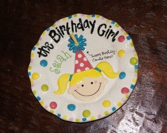 Personalized Baby Girl Birthday Plate Candle Holder