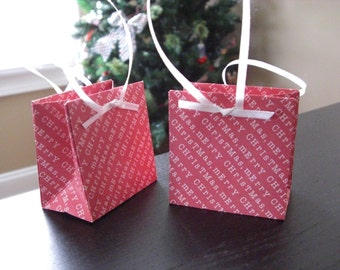 Ultra Mini Christmas Gift Bag - Favor Bag - Treat Bag (set of 4)
