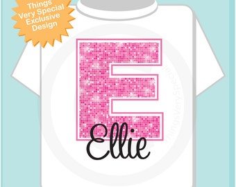 Pink Initial E Name Monogram Shirt Personalized Tee Shirt or Infant Onesie for Girls whos names start with E (0110214b)