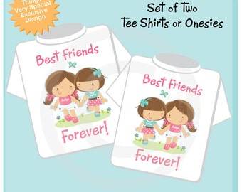 Set of Two, Personalized Best Friends Forever Shirt or Onesie with two Girl Best Friends (03192014a)