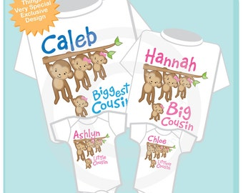 Set of Four Biggest Cousin, Big Cousin, Little Cousin and Littlest Cousin Tee Shirts or Onesies with Monkeys (04152014d)