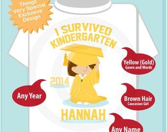 Personalized I Survived Kindergarten Shirt Kindergarten Graduate Shirt Child's Back To School Shirt (04102014f)