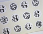 Sun Moon Face Stickers One Inch Round Seals