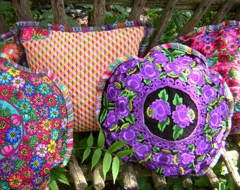 Embroidered Vintage Textile Round Pillow Cover  - Boho Mayan Huipil Pillow -  Black Velvet with Purple Flowers-  Made From  Mayan Huipil