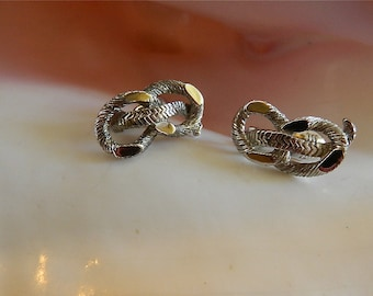 "Vintage Silver Signed Monet Rope Clip Earrings, ""All Hands On Deck"""