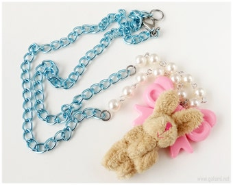Sweet Lolita Rabbit Plushie Necklace, Pastel Pink and Baby Blue, Beaded Pearl Chain - Street Fashion, Fairy Kei