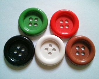 20 pcs - Big buttons - 4 hole - size 33 mm Dark Green red white black brown
