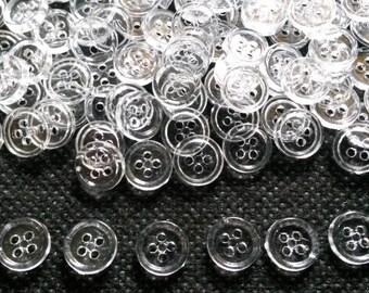 100 pcs  button 4 hole size 9 mm Transparent white
