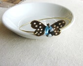 Bangle Bracelet Butterfly Charm Nature Inspired Gift Garden Minimalist Aqua Blue March Birthday Crystal Briolette Insect Hammered