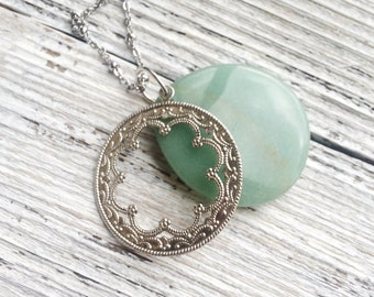 Amazonite Necklace Stone Pendant Necklace Large Focal Bead Green Pewter Charm Round Ornate Minimalist Statement Gem Jewel Nature Silver