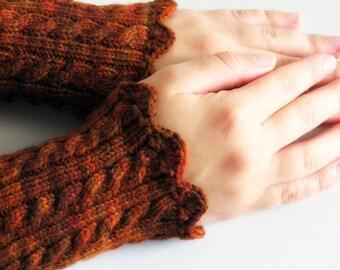 Pulse warmers, wrist warmers, wrist cuff , cable, hand knit, wristwarmers, warm, burnt orange, hand made, women