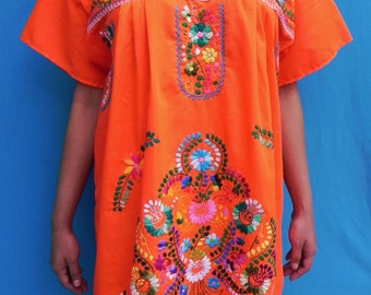 Mexican Orange Mini Dress Colorful Vtg Tunic Floral Embroidered Handmade Elegant Large