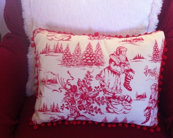 Pillow, Christmas, Santa Reindeer Poinsettia Holly Berry Tree Toile Cranberry Vintage Red, Red Ball Fringe, Polyfil Insert