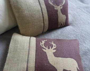 hand printed mulberry deer and stag cushion set