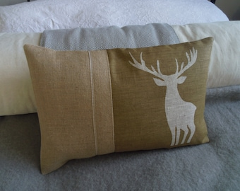 hand printed  soft gold brown classic stag cushion cover