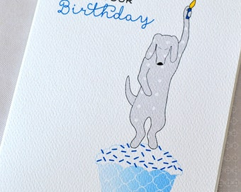 Dog Birthday Candle Greeting Card