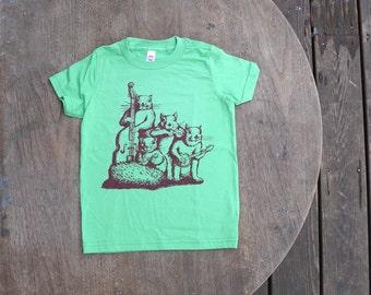Squirrel Blue Grass Band T-Shirt  American Apparel Grass Green Tee for Kids