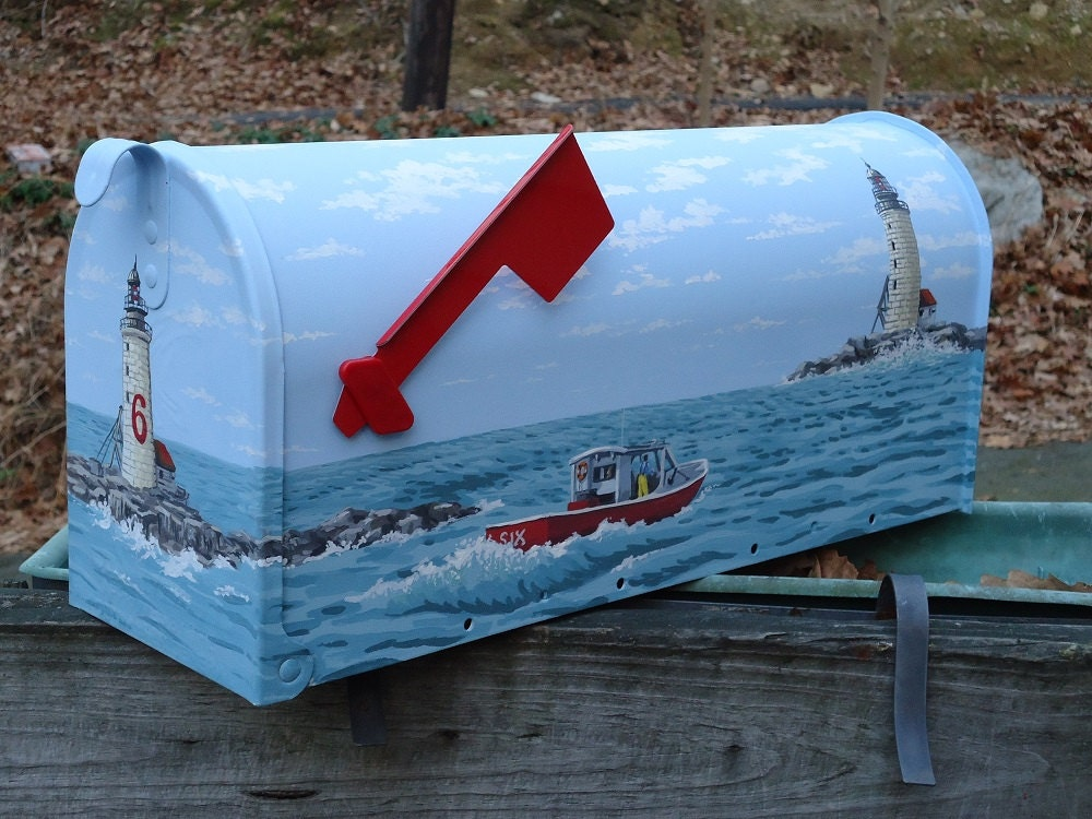 Maine lobster boat and lighthouse mailbox hand painted for Boat mailbox