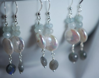 REDUCED from 20.00 Fresh water pearl coin, Aquamarine & Labradorite earrings. Sterling silver, wire wrapped,something blue,March birthstone.