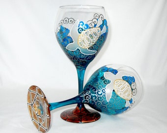 Sea Turtle Wine Glasses Hand Painted Glassware Goblets