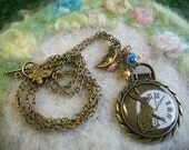 Long Chain, Clock and Rabbit Necklace in Bronze with Crescent Moon and Glass Beads, Steampunk