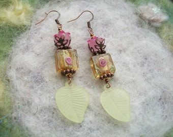 Summery Earrings, Lamp Work Beads, Pink and Yellow Delicate Leaf