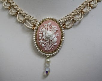 Cream and Pink cameo necklace