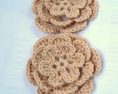 Crochet flower motif 3.5inch set of 2 driftwood