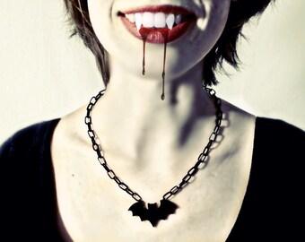 Vampire Bat Necklace, Halloween Jewelry