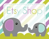 Etsy Banner and Avatar Shop Package - Premade Etsy Store - Elephant Stripe Design - Purple Aqua Colors