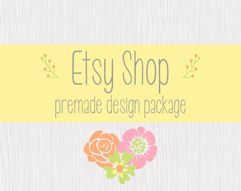Etsy Shop Banner, Etsy Cover Shop Icon, Premade Etsy Shop Set, Logo Design Package, Flowers and Wood Banner, Spring Flowers Wood Background