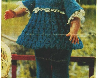 "Vintage Knitting pattern for 13"" 33cm dolls.From a magazine. Dress trousers hat"