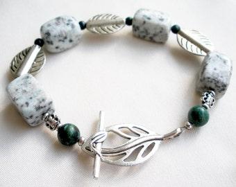 Rustic earthy gemstone bracelet with leaf toggle