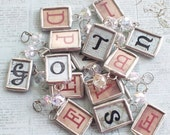 Personalized Petite Initial Soldered Art Glass Pendant Friend Gift Bridesmaid Gift Wedding Charm